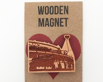 Chicago Cubs Wrigley Field Wooden Magnet