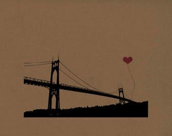 St. John's Bridge in Portland Oregon Print