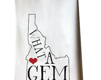 Idaho What a Gem cotton flour sack tea towel