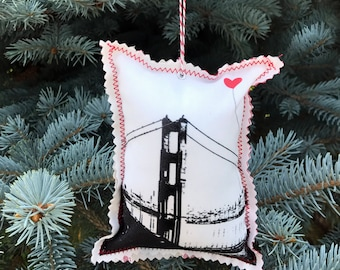 Heart in San Francisco Fabric Ornament Golden Gate Bridge