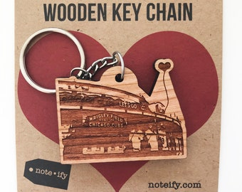 Chicago Cubs Wrigley Field Wooden Key Chain