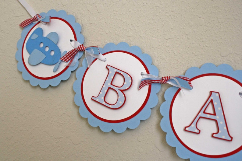 Airplane party banner baby shower or nursery banner