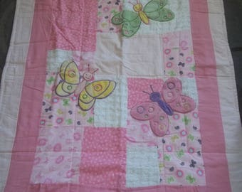 BaBy BlanKet, pinks, soft fuzzy butterflies, pastel flannel, chenille,  Very CUTE