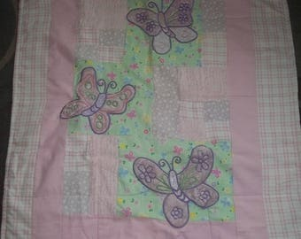 BaBy BlanKet, pinks, soft fuzzy butterflies, pastel pink and green flannel, chenille,  Very CUTE