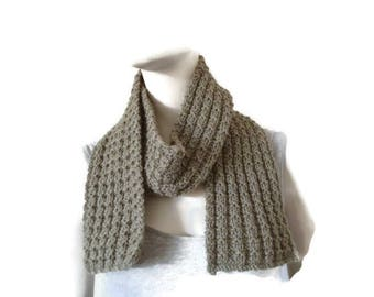 Hand Knitted Wool Scarf, Wrap Scarf, Wool Scarf, Wool Accessories, Wool Scarves