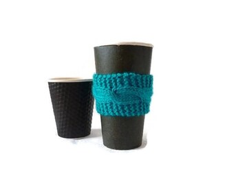 Knit Coffee Cozy, Cable Cozy, Coffee Sleeve, Stocking Stuffer, Teacher Gift
