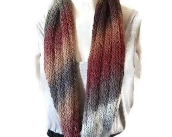 Wool Infinity Scarf, Knit Infinity Scarf, Winter Scarf, Multi color Scarf