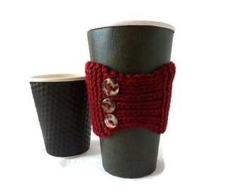 Cup Cozy, Knit Coffee Cozy, Coffee Cover, Coffee Sleeve, Mothers Day Gift