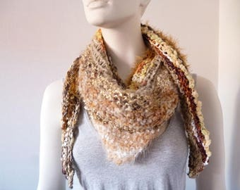 Knit Triangle Scarf, Hand knit Scarf, Womens Scarf, Spring or Autumn Scarf, Mothers Day