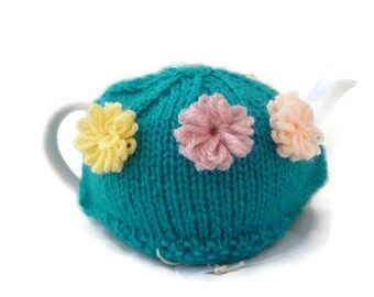 Teapot Cozy 2 Cup, Teapot Warmer, Knit Teapot Cozy, Flower Teapot Cozy, Mothers Day Gift