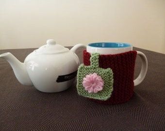 Knit Mug Hug, Mug Cozy, Mug Wrap, Mug Sweater, Cup Cozy, Mug Hug with Flowers, Teacher Gift