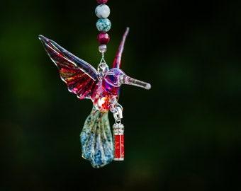 Hummingbird Keepsake Urn - Sympathy Gift - Bereavement Gift - Memorial Urn - Red Winged II