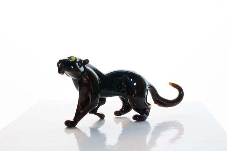 Guenhwyvar Black Glass Panther Handcrafted Glass Figurine image 0