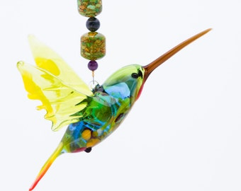 Handmade Hanging Green Headed Hummingbird Suncatcher, Great Art Glass Gift and Suncatcher