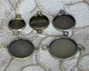 6 pcs 10mm,12mm,14mm,15mm,16mm,18mm,20mm.25mm,34mm Antique Bronze round Cabochon Pendant Base findings,blank pendant base Findings