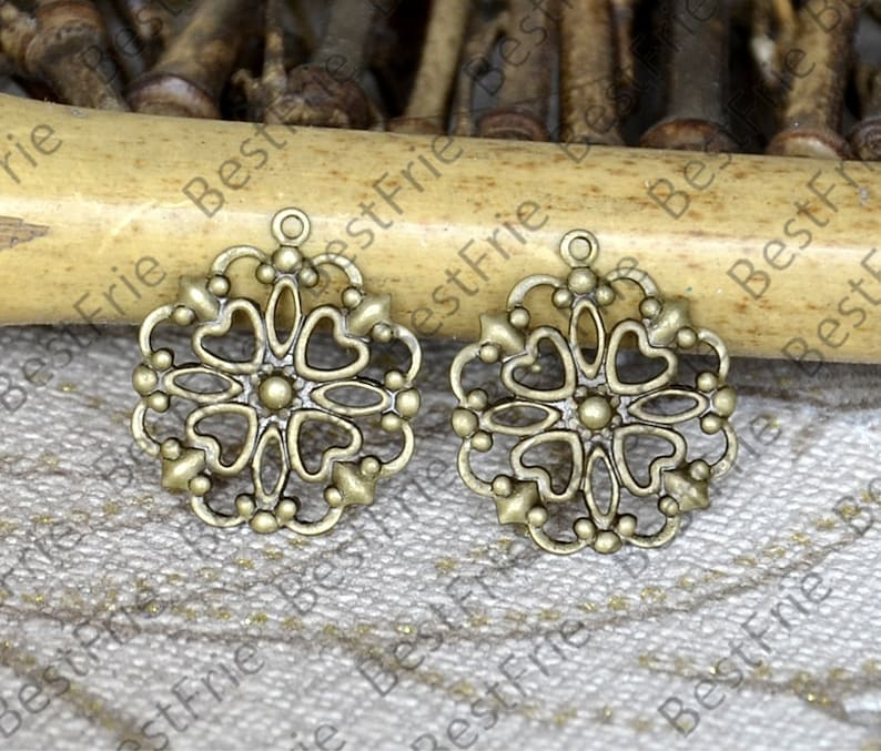 Antique Brass Filigree Earring Components,Jewelry Connectors Setting,Connector Findings,Filigree Findings,Flower Filigree