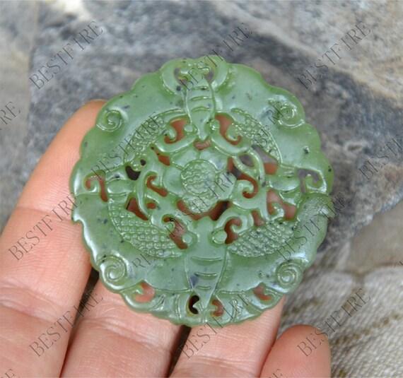 Sculpture de fleur vert jade pendentif, pendentif Jade papillon, pendentif Double Face Jade, Jade Pendentif amulette Talisman, Jade pendentif bijoux