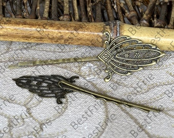 6pcs of Antique Bronze bobby pins filigree pad 55mm,hairpin findings,leaf Hair finding,hair accessories,headband findings