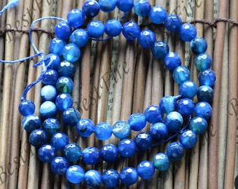 Single Faceted 6mm blue agate round stone beads, gemstone Beads ,agate stone beads loose strands