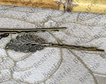 6pcs of Antique Bronze bobby pins filigree pad 55mm,hairpin findings,leaf Hair findings,hair accessories,headband findings