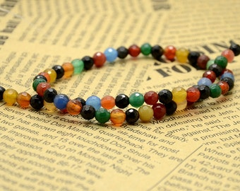Faceted 6mm multicolour  round Agate nugget beads,stone beads,gemstone beads loose strand