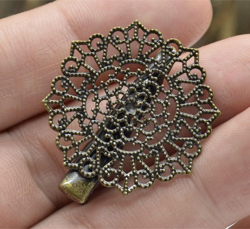 10Pcs Oval Flower Filigree Hair Clip Pin  Pin DIY Headwear Accessories