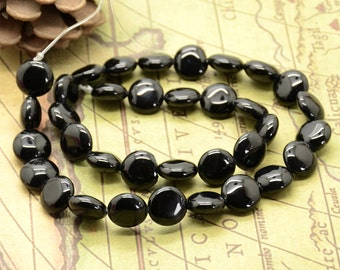 12mm Black round coin Agate nugget beads,stone beads,gemstone beads loose strand
