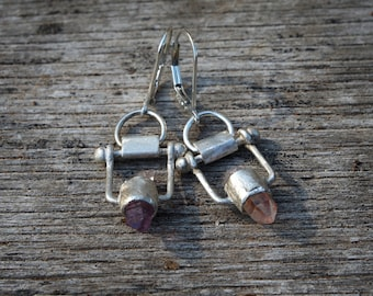 multicolor quartz point earrings, oxidized sterling silver earrings