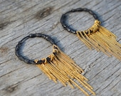 rugged sterling silver hoop earrings, goldfollied chains, unique design