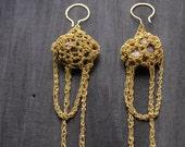 extra long drape earrings, crochet earrings, ammonite earrings, goldfilled chains, ooak jewelry