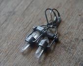 clear quartz point earrings, oxidized sterling silver earrings