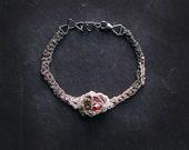 zinc crochet bracelet, gradient oxidized silver, gemstone. ooak