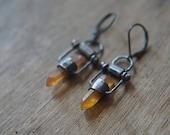 tangerine quartz point earrings, oxidized sterling silver earrings, ooak