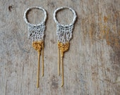 sunny side sterling silver fringe hoop earrings, crocheted sterling silver & goldfilled chains, contemporary