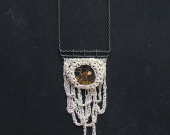 sale! 35% off - ammonite fossil and stalactites silver crochet necklace