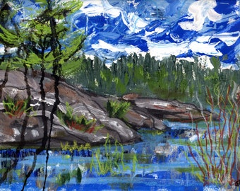 Edge of the Channel, Whitefish Falls, Original Painting on paper