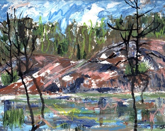 The Big Rock, Whitefish Falls, Original Painting on paper