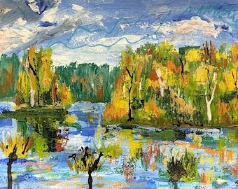 Paudash Lake in Fall, Original Painting on paper