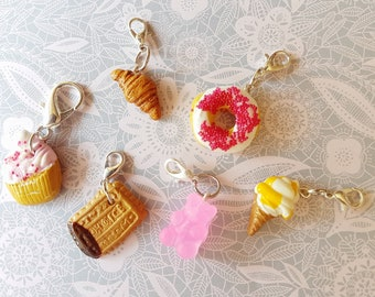 polymer clay charm collection of 6 cakes and sweets