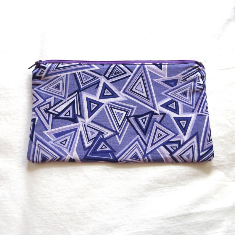 Purple Triangle Fabric  Zipper Pouch  Pencil Case  Make Up Bag  Gadget Pouch