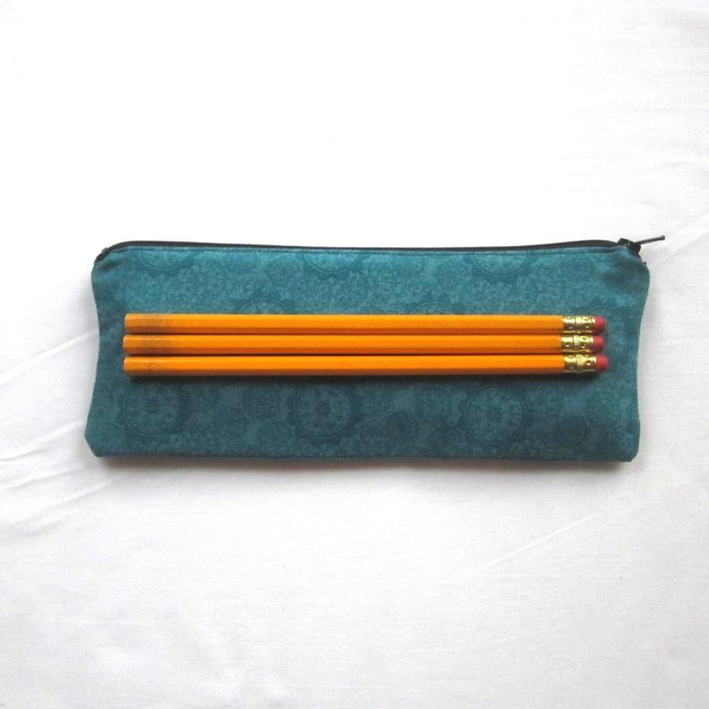 Skinny Aqua Zipper Pouch  Pencil Case