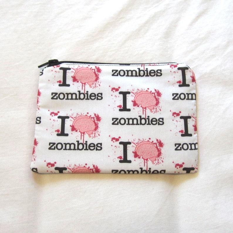 I Brain Zombies Coin PurseZipper PouchGift Card Envelope Bag