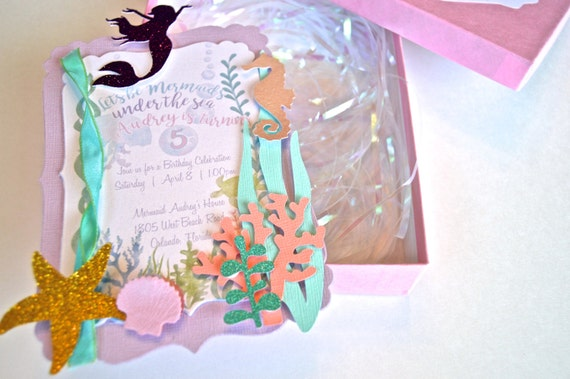 Mermaid Invitation 3D With Box And Metallic Iridescent Shreds Birthday Under The Sea Baby Shower