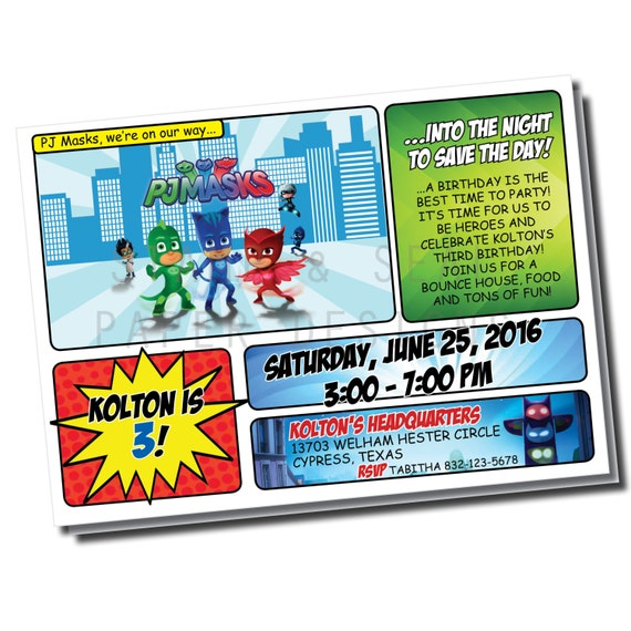 PJ Masks DIGITAL Invitation Birthday Pj Digital