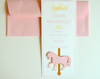 Pink and Gold Carousel Invitation