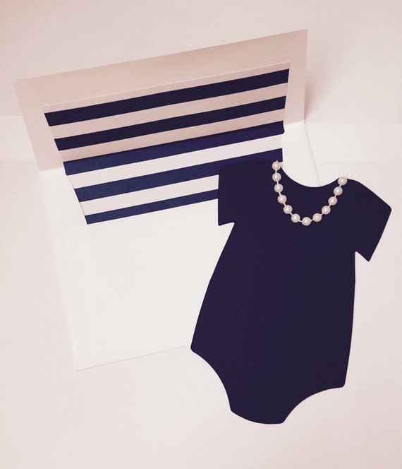 Little Black Onesie And Pearl Necklace Baby Showerbirthday