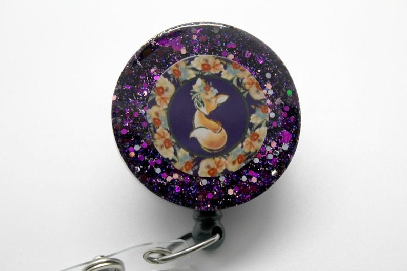 Woodland Fox Resin Badge Reel Retractable Swivel Clip ID Holder Glitter