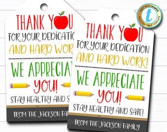 Teacher Appreciation Gift Tag, Thank You Gift Staff School Pto Pta, Long Distance Online Learning, Appreciation Week DIY Editable Template