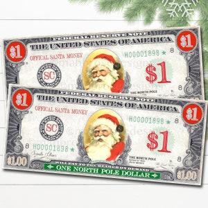 CHRISTMAS TREE SANTA HOLIDAYS STOCKING STUFFER DOLLAR BILL PLAY MONEY