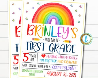 First Day Of School Sign, Editable First Day of Kindergarten, First Day of PreSchool Sign Chalkboard Instant Download Any Grade Template